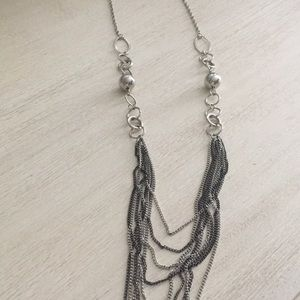 Silver Layered Chain Statement Necklace